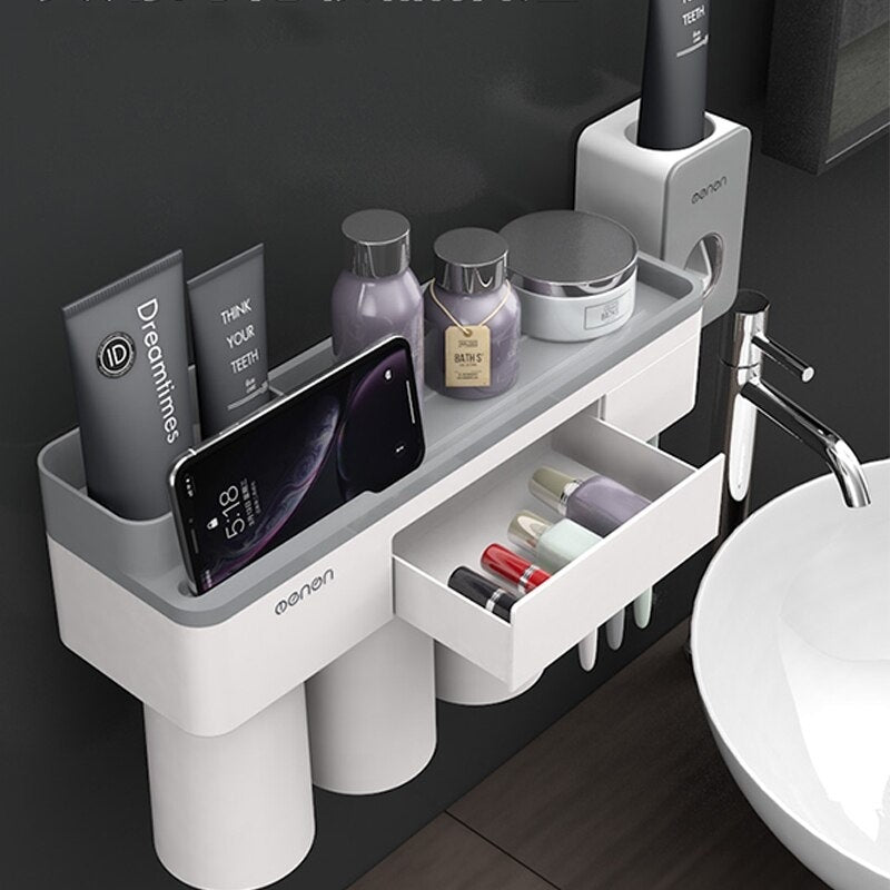 Creative Toothbrush Holder Magnetic Adsorption Inverted Cup Wall Mount Firmly Bathroom Storage Rack Toothpaste Squeezer Family Set