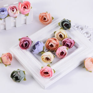 20pcs 4cm Artificial Tea Rose Bud small peony flower head flores wedding decoration Wreath Scrapbooking DIY Handmade Crafts Fake Flowers