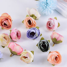 Load image into Gallery viewer, 20pcs 4cm Artificial Tea Rose Bud small peony flower head flores wedding decoration Wreath Scrapbooking DIY Handmade Crafts Fake Flowers