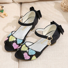 Load image into Gallery viewer, Kids Girls Princess Sandals Princess Dresses for Girls Small Heels Sequined Vamp Bows Love Shape Decorative  Children's Dance Shoes Performance Shoes Girls Crystal Shoes