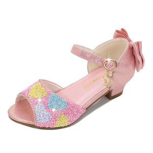 Kids Girls Princess Sandals Princess Dresses for Girls Small Heels Sequined Vamp Bows Love Shape Decorative  Children's Dance Shoes Performance Shoes Girls Crystal Shoes