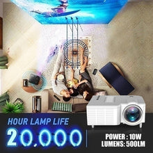 Load image into Gallery viewer, New Upgrade Video Projector HD 1080P Home Movies Projector Home Cinema Theater USB / HDMI / TF / VGA / AV Mini LED Projector for Home Office