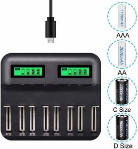 New 4/8 slots Battery Charger Universal Smart Chargering for Rechargeable Lithium Battery Li-ion 18650 18500 16340 14500 26650 Ni-MH/Ni-Cd A AA AAA SC C D Batteries