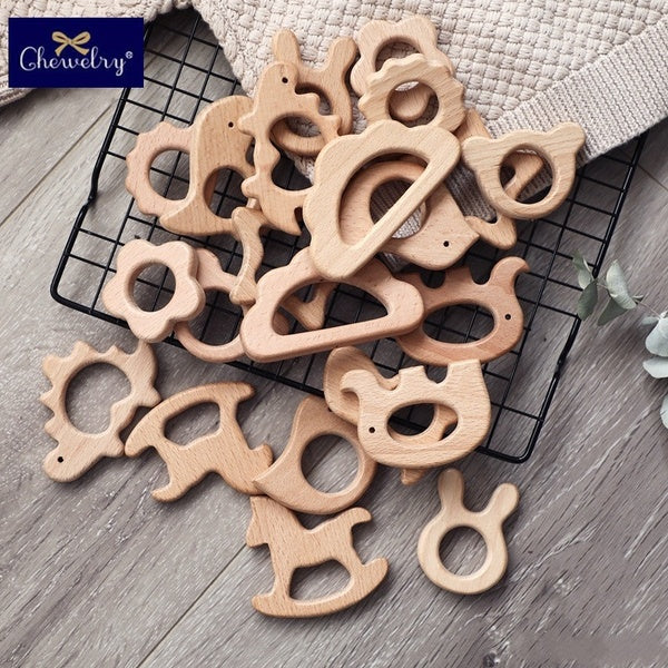 1PC Beech Wooden Pendant Baby Teether Rodent Koala Animal Toddler Teething Sensory Toys