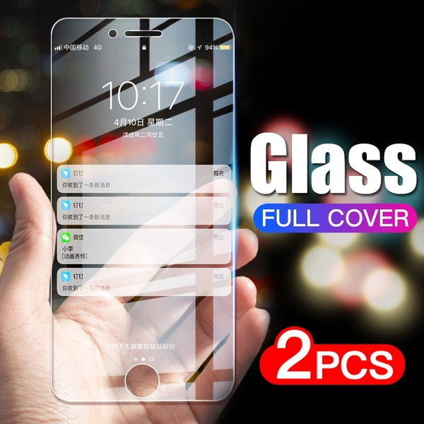 2Pcs Full Cover Glass Anti-Fingerprint Tempered Glass on the For iPhone 7 8 Plus 6 6s se Tempered Glass For iPhone X Xr 11 Pro Xs Max 7 8 Screen Protector