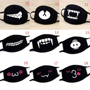 Fashion Four Seasons General Cartoon Pattern Solid Black Cotton Face Mask Cute 3D Print Half Face Mouth Muffle Masks Health Beauty Accessories.