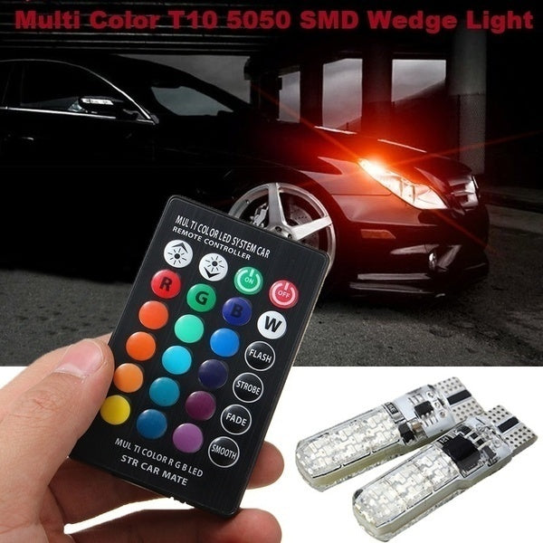 2x T10 Waterproof W5w 501 Car Wedge Side Light Bulb-6SMD 5050 RGB 7 Color LED Remote Control (NO Battery)Strobe Flash Wedge Lamp Bulb