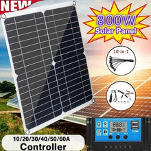 Load image into Gallery viewer, Newest Upgrade 800W Solar Panel PWM Solar Panel with 10-60A 12V 24V LCD Display Controller Charging Controller for RV Marine Outdoor Camping