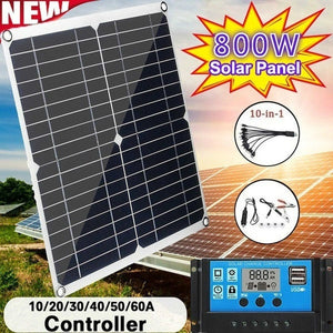 Newest Upgrade 800W Solar Panel PWM Solar Panel with 10-60A 12V 24V LCD Display Controller Charging Controller for RV Marine Outdoor Camping