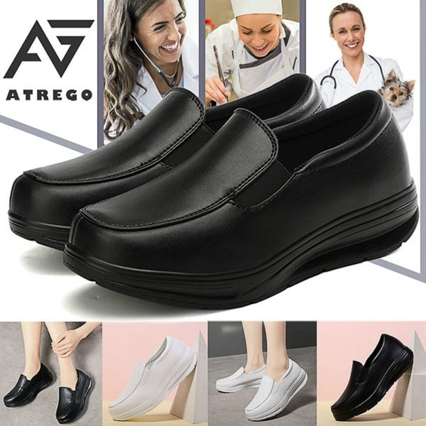 AtreGo Womens Wedge Loafers Hospital Nursing Shoes Slip On Leisure Work Flats