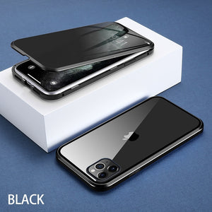 Magnetic Tempered Glass Privacy Metal Phone Case Coque 360 Magnet Antispy Cover For  iPhone 11/11 Pro /11 Pro MAX/6 Plus/6s Plus/iPhone 7/7 Plus/ 8/ 8 Plus/iPhone X /Xs /XR /Xs Max