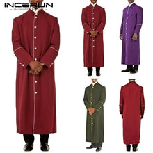 Load image into Gallery viewer, INCERUN Men Clergy Robe Muslim Preacher Work Clothing Clergyman Costume