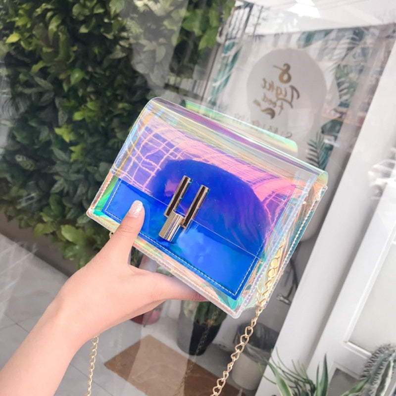 Fashion Transparent Handbag Colorful Chain Bags Rainbow Purses Clear Jelly Bag for Women Lady Girls