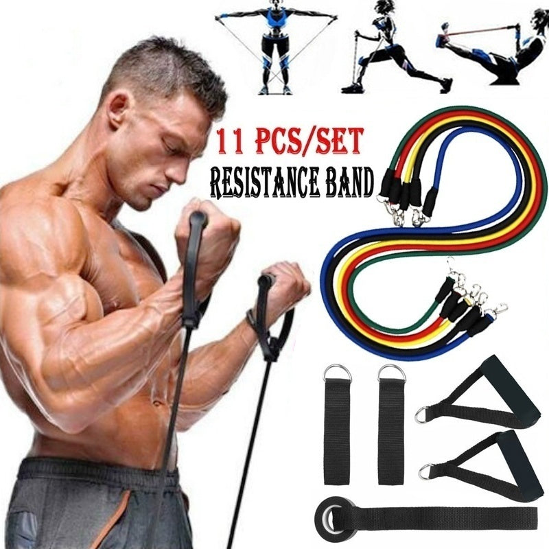 3/11pcs / Set Fitness Resistance Bands Natural Rubber Latex Exercise Tube Practical Elastic Training Rope Yoga Pull String