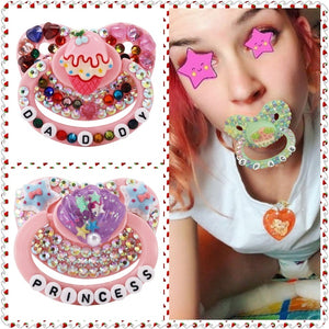 2020 New Adult Pacifier Cute Printed Pacifier Silicone ABDL & DDLG Diamond Pacifier