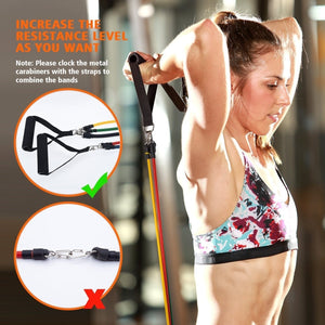 11pcs / Set Natural Rubber Latex Fitness Resistance Bands Exercise Tubes Practical Elastic Training Rope Yoga Pull String