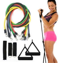 将图片加载到图库查看器,11pcs / Set Natural Rubber Latex Fitness Resistance Bands Exercise Tubes Practical Elastic Training Rope Yoga Pull String