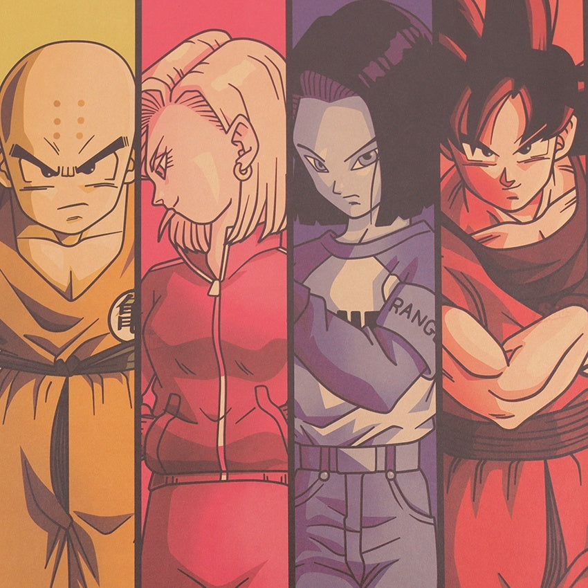 Vintage Cartoon Anime Dragon Ball Poster Bar Kids Room Home Decor Comics Dragon Ball Kraft Paper Painting 70x39cm