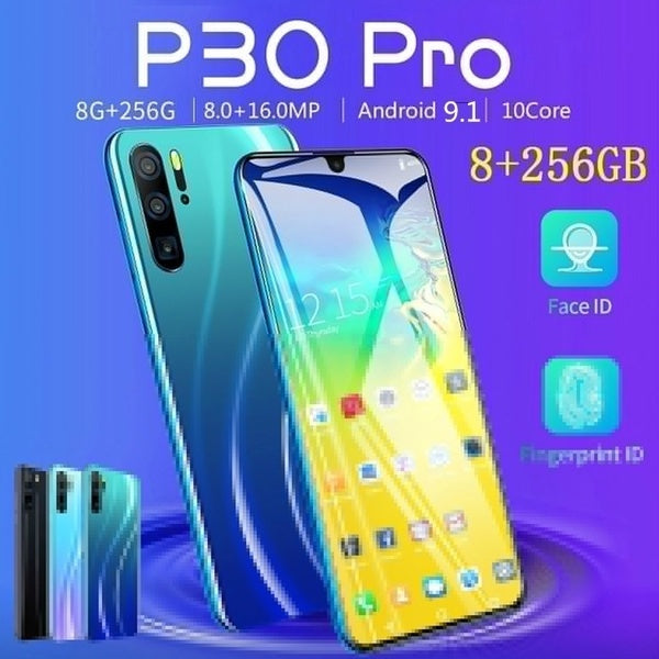 2020 Hot Sale P30 Pro Smartphone with 4G /5G Network 6.3 Inch Water Drop Screen  MTK6797  8G 256G Dual SIM Card Dual Standby GPS GSM Android 9.1 Ten Core