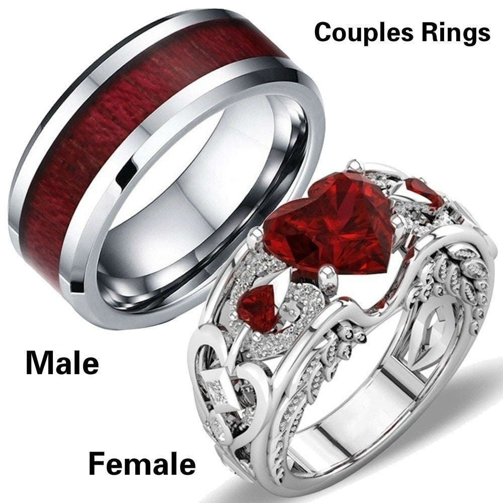 TWO RINGS Size 6-12 Charm Couples Rings 316L Titanium Steel Men's Ring & 14K White GP Ruby Women's Wedding Bands Ring