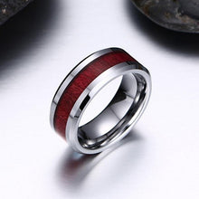 Load image into Gallery viewer, TWO RINGS Size 6-12 Charm Couples Rings 316L Titanium Steel Men's Ring & 14K White GP Ruby Women's Wedding Bands Ring