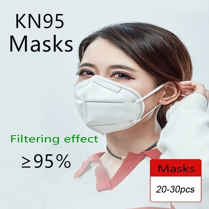 20PCS/30PCS Disposable KN95 Mask FFP2 Protective Mask Safety Masks 99% Filtration for Dust Particulate Pollution N95 Protection