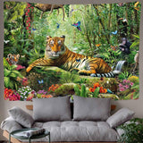 King of The Forest Tiger Tapestry Forest Animal Wall Hanging Tropical Rainforest Landscape Tapestry Bohemian Tapestry