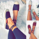 Women Fashion Spring and Summer Casual Shoes Flat Rivet Shoes Espadrilles Gladiator Sandals Ankle Bandage Shoes Round Toe Loafers