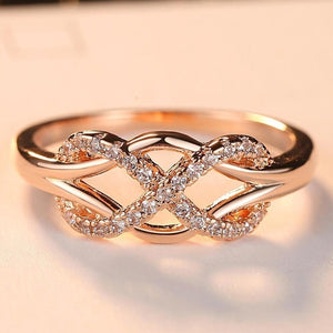New Cubic Zirconia Crystal Infinite Rings For Women Fashion Design Statement Rose Gold Color Ring Wedding Jewelry