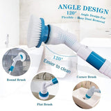 Electric Spin Scrubber Power Brush Floor Scrubber, Cordless Shower Scrubber with Adjustable Extension Arm and 3 Replaceable Bathroom Scrubber Cleaning Brush Heads for Tub, Tile, Floor