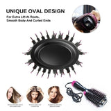 Hot Air Hair Brush 4 In 1 Electric One Step Hair Dryer Volumizer with Negative Ion Curling Dryer Brush, Straightening Brush, Dryer Styler,Red,Gold