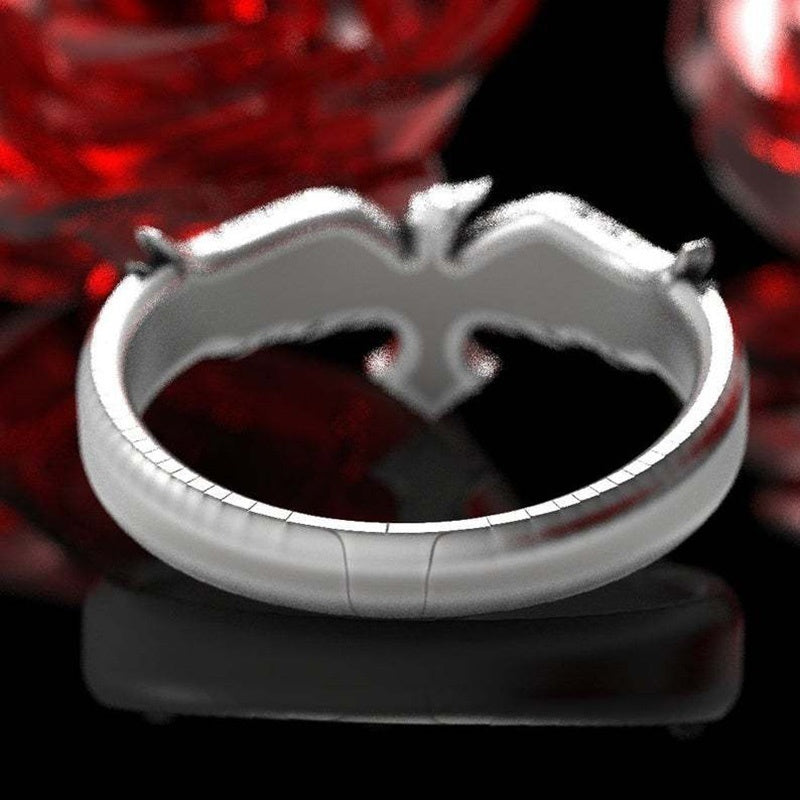 925 Sterling Silver Celtic Raven Ring Raven Wedding Band Mens Wedding Band Ring Size 7-14