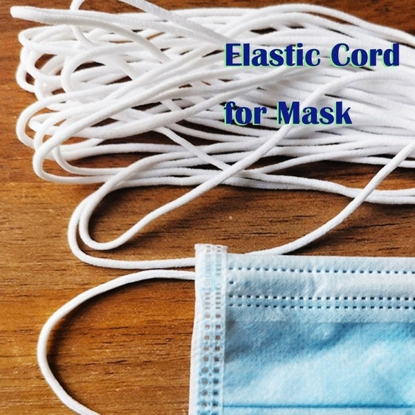 3mm White Round Elastic Band Cord for Mouth Mask Crafts Costume Clothing Stretchy DIY Materials 10m Length
