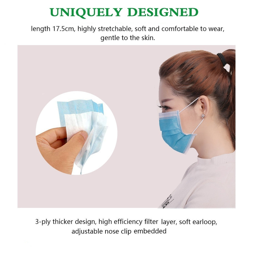 25/50pcs Profession Medical Mask Pack Medical Surgical 3-Ply PM2.5 Nonwoven Disposable Elastic Mouth Soft Breathable Face Mask
