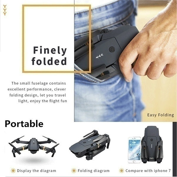 2020 Future Limited Edition Upgrade Mavic Pro Clone Coming! Professional 4096P 4K HD Camera Folding Drone Wireless Wifi 360 Degree Roll FPV Selfie RC Drone Quadcopters RTF with Real Time Video Free 3 Batteries and Storage Bag