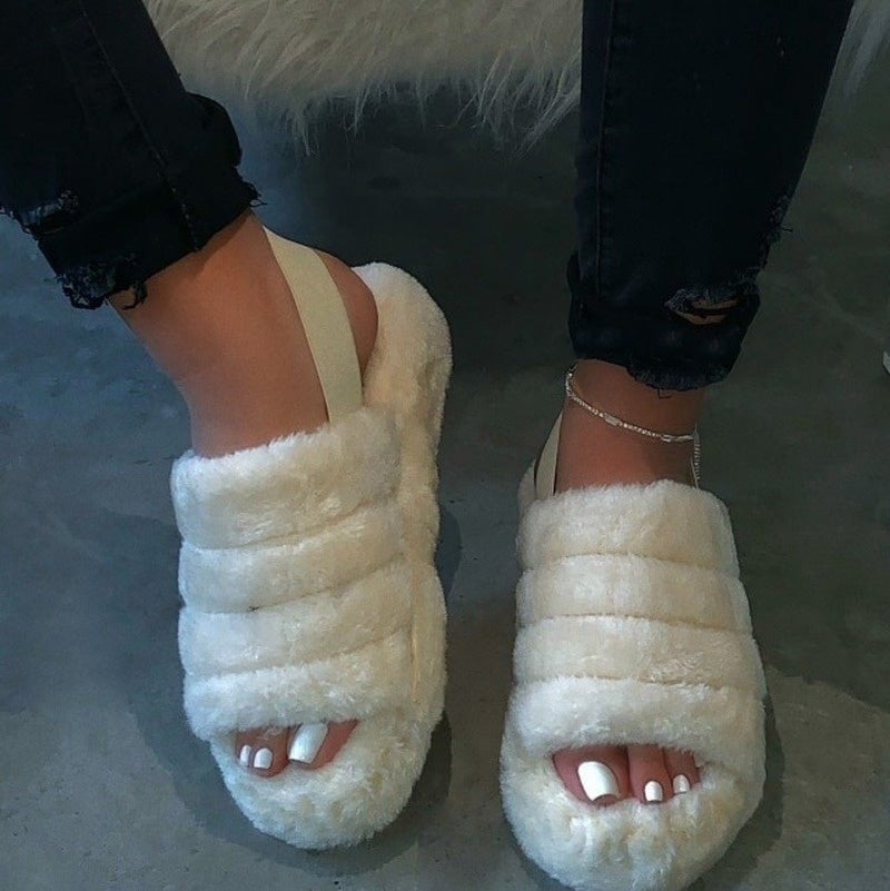New Women Spring Plush Slippers 2020 Flat Bottom Antiskid Indoor All-around Comfortable Sandals Outdoor Leisure Women's Plus Size