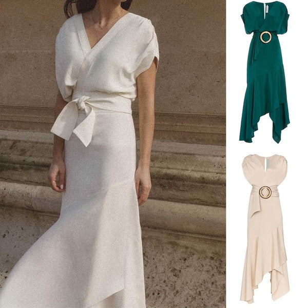 2020 Women Elegant Solid Color Midi Dress Irregular  Ruched Formal Party Dresses (Excluding belts and buttons