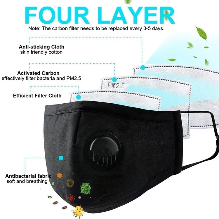 2 pcs KN95 Face Mask Dust Mask Anti Pollution Masks PM2.5 Activated Carbon Filter Insert Can Be Washed Reusable