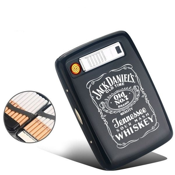 Stylish new windproof portable automatic cigarette case electronic lighter lighter pocket zinc alloy metal and USB rechargeable 20-piece capacity cigarette cigarette