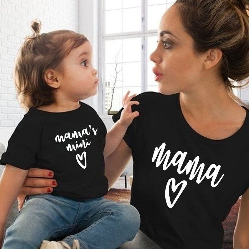 2020 Summer New Parent-child Fitted Mother and Daughter Matching Suit Fashion Love Printing Shorts Sleeves T-shirt