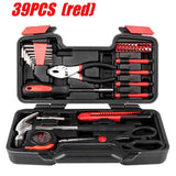 General Household Car AUTO Repair Tool Kit with Plastic Toolbox Storage Case 1/4 Inch Socket Ratchet Wrench Screwdriver Hand Tool Set 39/46/136PCS SET for Car&Home Repair Tool Kit