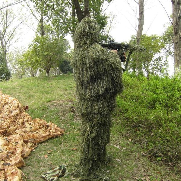 Outdoor Field Grass Tactical Ghillie Suit Camouflage Sniper Hunting Airsoft CS Ghilly Suit Set Includes Jacket Pants & Rifle Wrap PUBG Eat Chicken Tonight Ghillie Suit