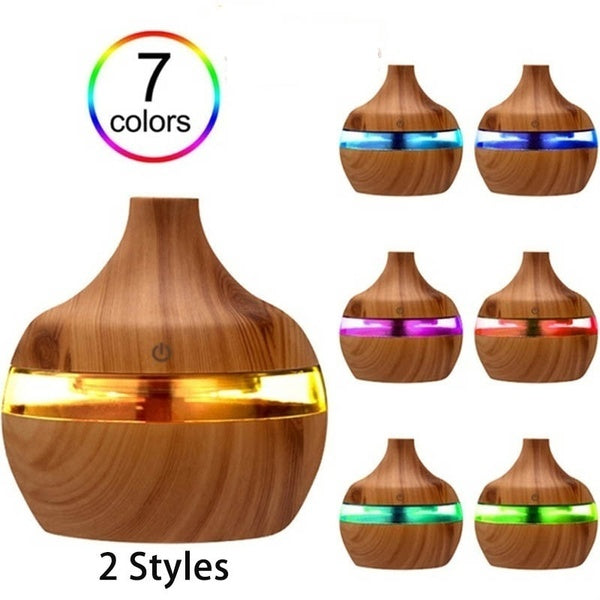 New 7 Color Led Humidifier Nightlights Mini Usb Wood Grain Ultrasonic Mist Aroma Air Humidifier Essential Oil Diffuser Or Donuts Shape Without Led Humidifier