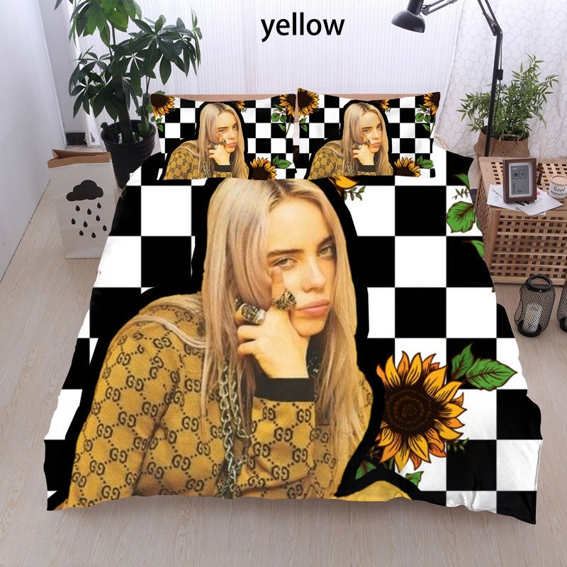 3d Print American Singer Billie Eilish Pop Girl Bedding Sets Duvet Cover Sets New Personality Bedroom Decoration