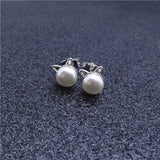 Creative 925 Sterling Silver Cat Stud Earrings For Women Engagement Wedding Party Pearl Jewelry