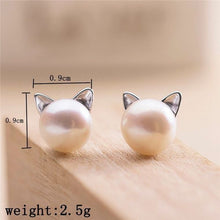 Load image into Gallery viewer, Creative 925 Sterling Silver Cat Stud Earrings For Women Engagement Wedding Party Pearl Jewelry