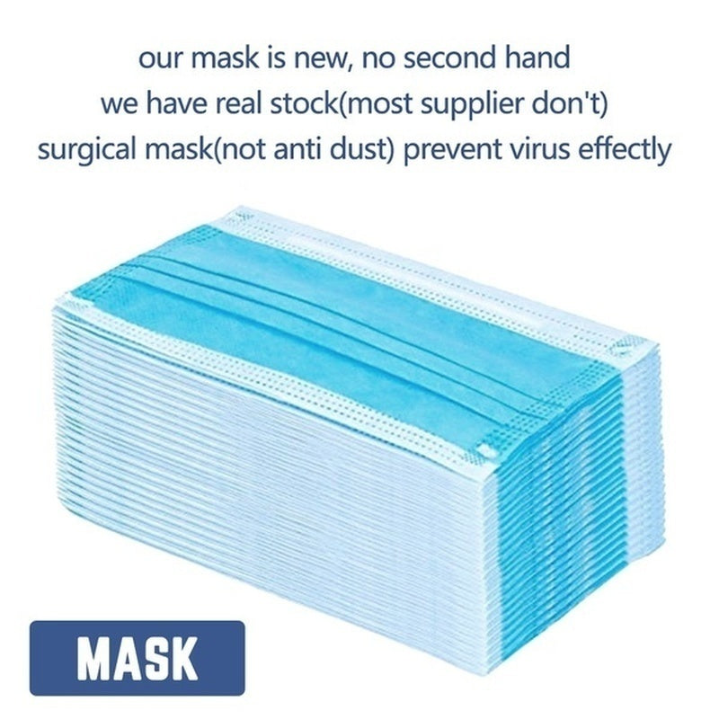 50/20/10Pcs 3-Ply Disposable Face Mask, Dust Mask Flu Face Masks with Elastic Ear Loop for All People(Blue) Disposable Medical Mask