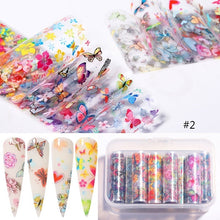 Load image into Gallery viewer, 10pcs/Box Butterfly Flower Nail Foils Shell Print Nail Transfer Stickers