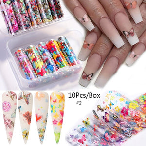 10pcs/Box Butterfly Flower Nail Foils Shell Print Nail Transfer Stickers