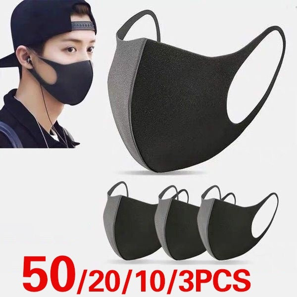 50/20/10/3 Pcs Black Mouth Mask Outdoor Fashion Anti-Dust Cotton Unisex Face Mask Respirator Winter Warm Mouth Mask